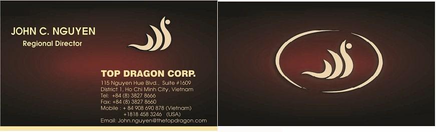 In card visit ép kim cho công ty Top Dragon.