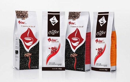 Thiết kế bao bì cafe trong bộ thiết kế thương hiệu cafe của EMC.