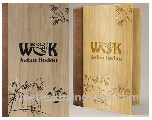 Sản phẩm thiết kế in menu gỗ