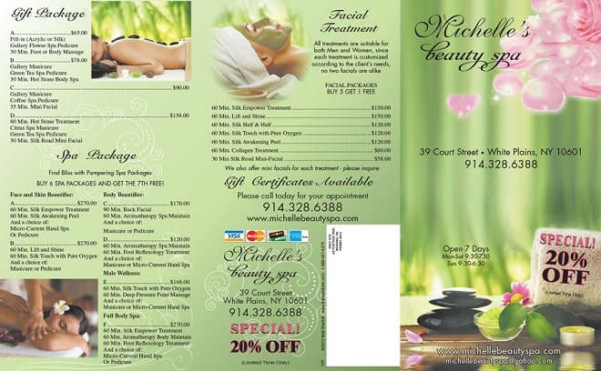Menu spa beauty