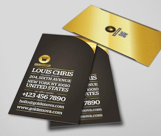 Thiết kế card visit màu vàng thuộc kim