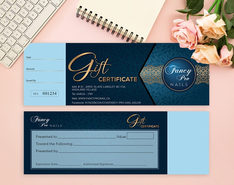 Kiểu in voucher book - gift certificate Nails