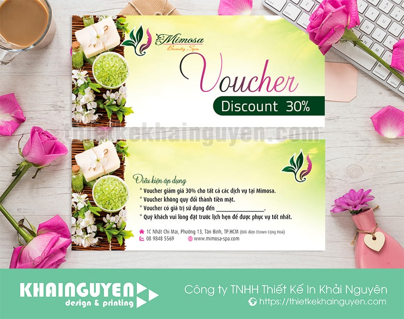 Thiết kế & in ấn voucher cho spa Minosa beauty spa