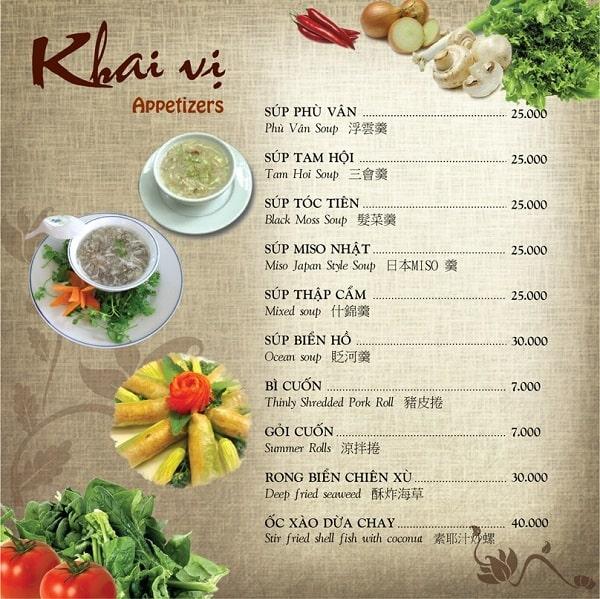 Mẫu in menu thực đơn chay