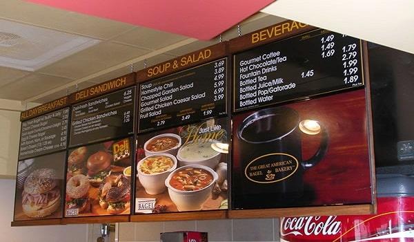 menu board với hình ảnh đẹp