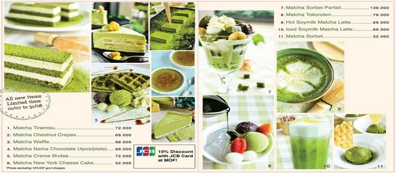 menu món ăn matcha của MOF