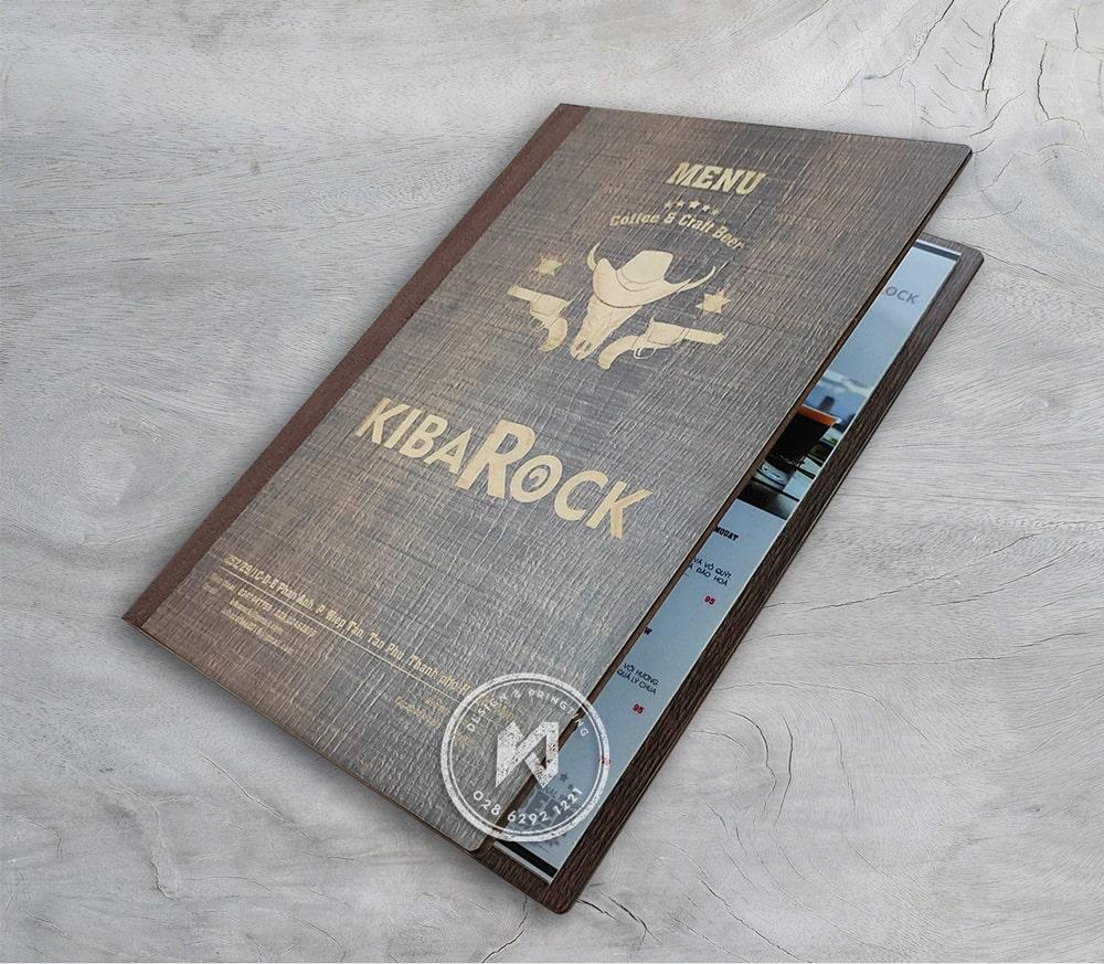 Bìa gỗ nhà hàng KiBaRock bắn laser trắng