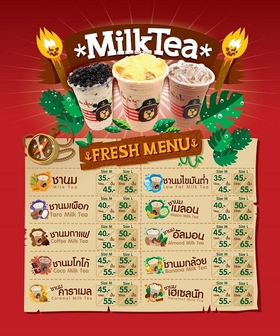 Thiết kế menu trà sữa bên Thái Lan