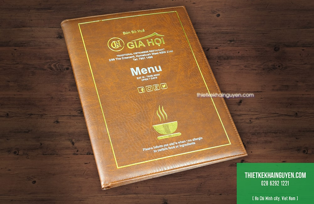Làm menu thực đơn bìa da