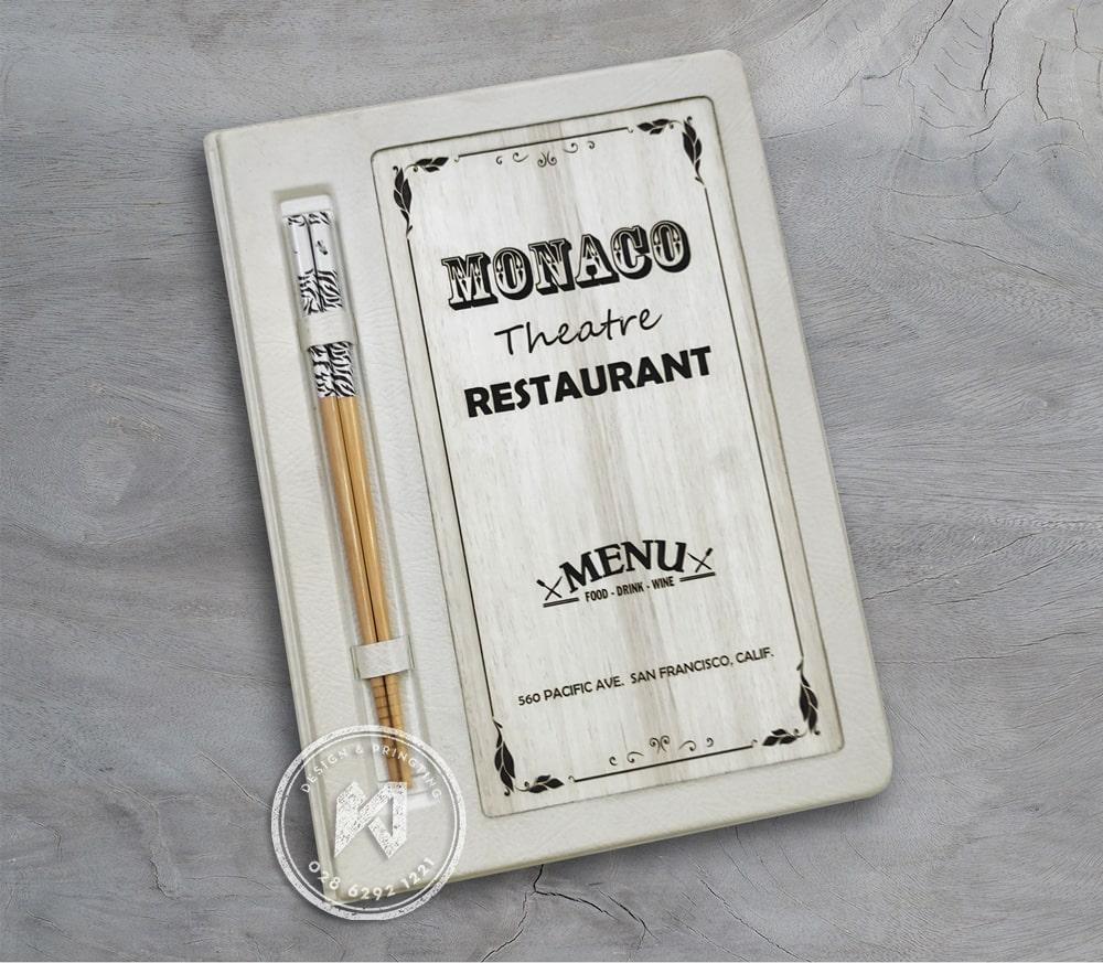 Thực đơn gỗ trắng da trắng - Monaco restaurant