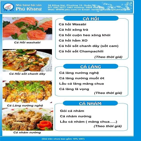 một mẫu thiết kế menu hải sản