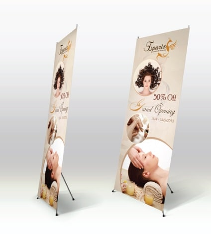 Thiết kế poster spa kệ standee chữ X