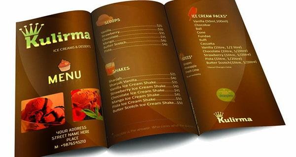 Mẫu thiết kế brochure menu nhà hàng