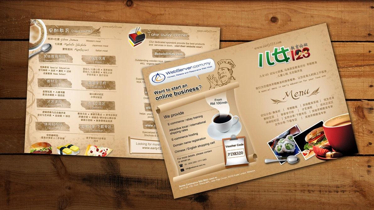 Làm brochure menu nhà hàng
