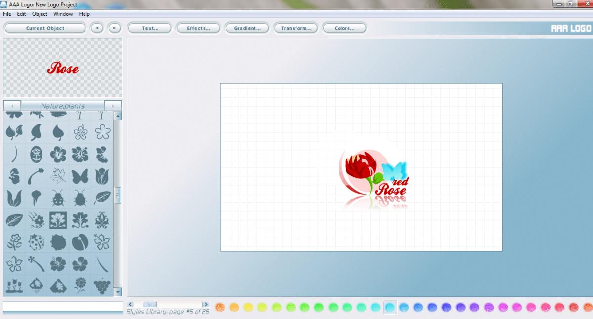 Giao diện phần mềm thiết kế logo đơn giản - aaa logo