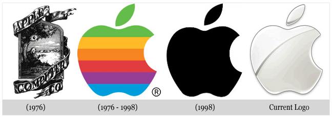 Phối màu thiết kế logo của apple ngày càng đơn giản