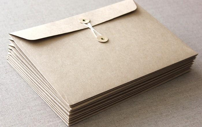Bao thư nhỏ giấy kraft có đính nút