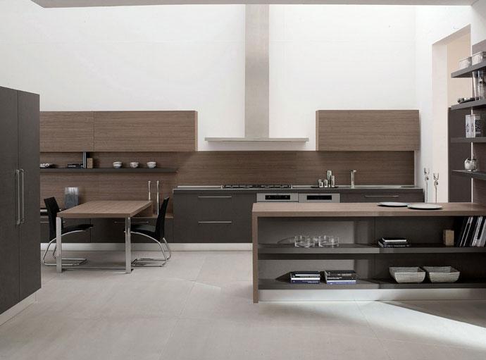 Còn đây là nhà bếp được làm từ gỗ laminate