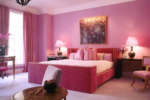 Sơn màu hồng cho phòng ngủ