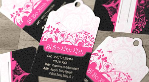 Mẫu in thẻ treo được thiết kế phá cách với hồng và đen