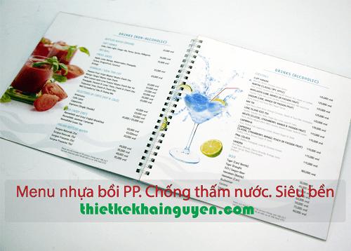 Thiết kế menu thực đơn nhựa bồi PP