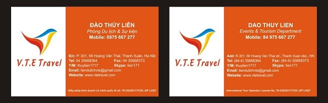 Card visit song ngữ của V.T.E Travel