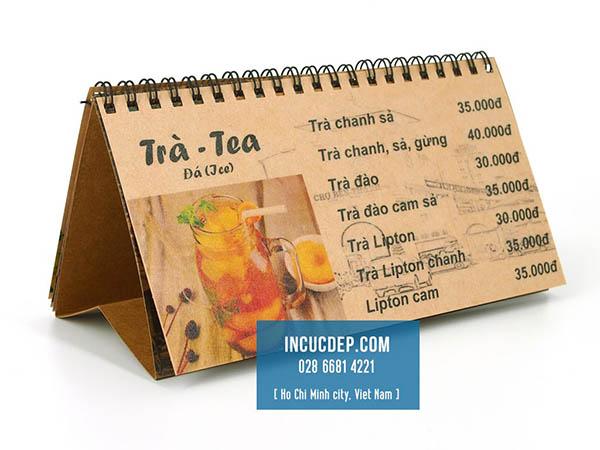 Thực đơn để bàn dạng lịch, in bằng giấy kraft