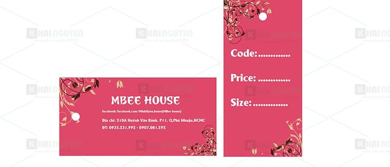 Mẫu thiết kế thẻ treo shop thời trang MbeeHouse
