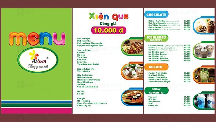 Mẫu thiết kế menu quán Azteen