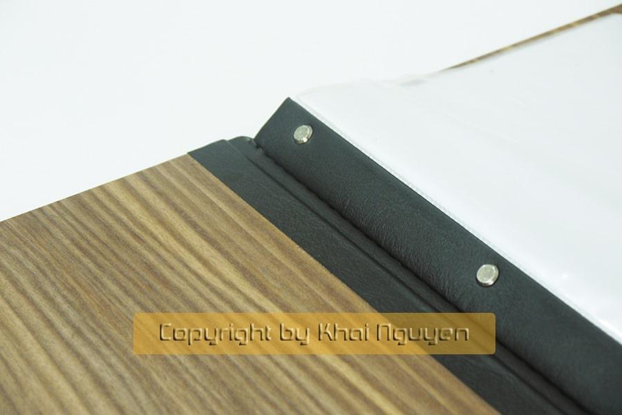 Menu bìa gỗ - đóng lá nhựa bằng ốc trong thẩm mỹ cao