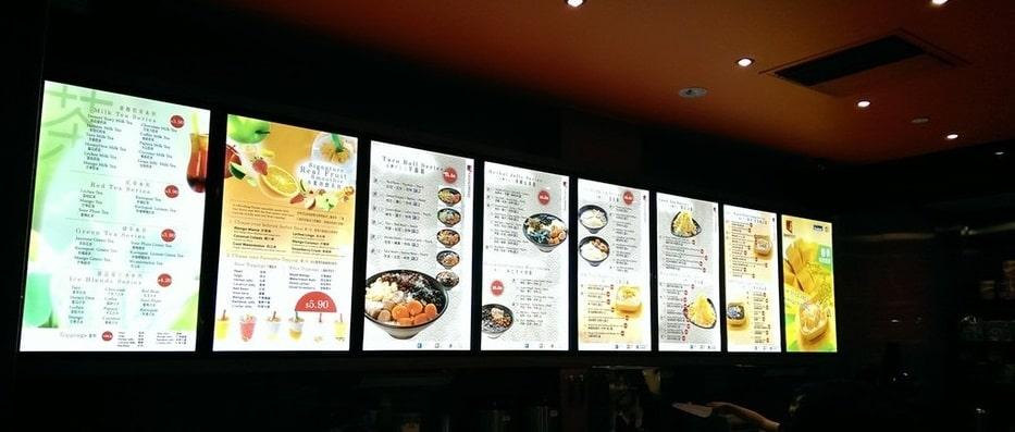 In menu dán tường - dạng menu bảng