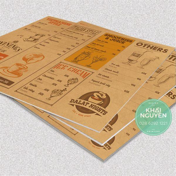 Thiết kế menu bồi Foarm - Formex cho quán cafe style cổ điển
