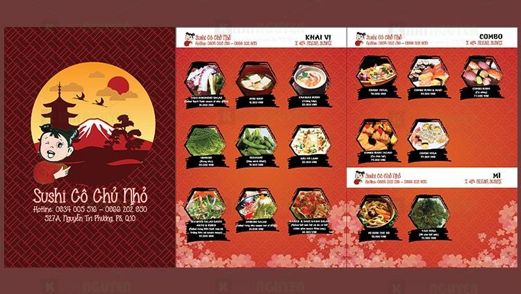 Mẫu thiết kế thực đơn quán sushi Cô Chủ Nhỏ