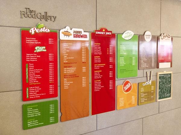 Những menu được thiết kế sinh động
