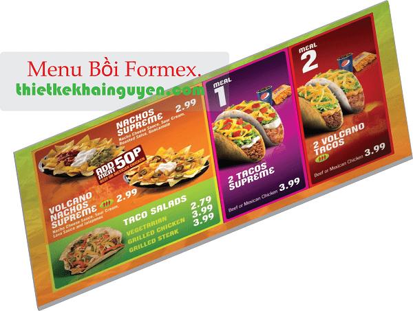 Thiết kế menu bồi formex nên làm một hoặc hai mặt