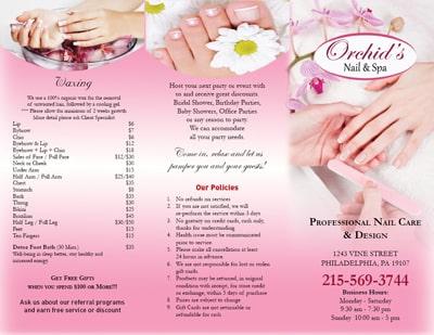 M u in brochure spa salon nails spa hair salon for Nail brochure templates free