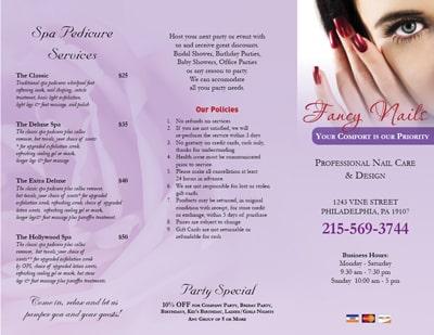 Mẫu in brochure nails spa hoa hồng đơn giản nhưng ấn tượng
