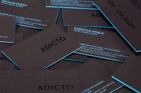 In card visit bồi 3D với 2 màu nâu đen và xanh dương