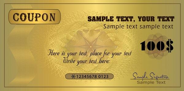 Template voucher màu vàng quý phái
