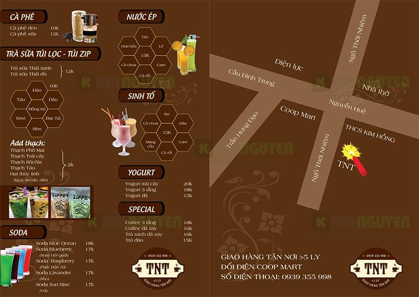 Mẫu thiết kế menu cafe quán tnt sáng tạo