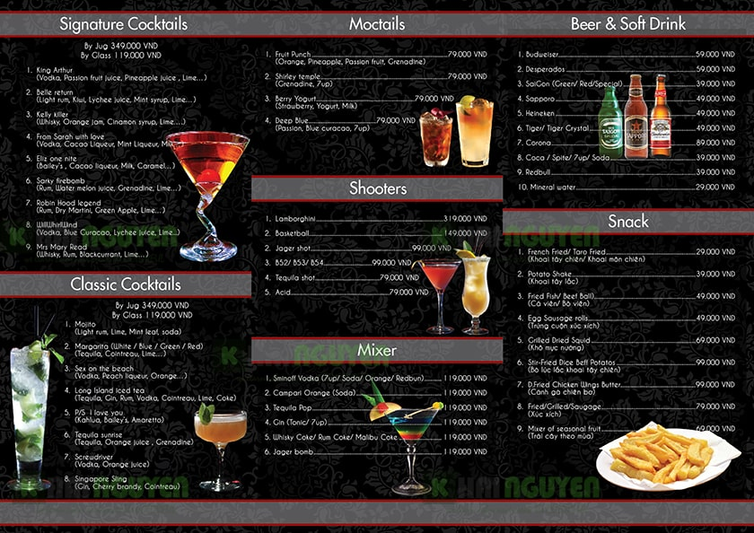 Thiết kế menu cafe doolan phong cách âu - menu A3