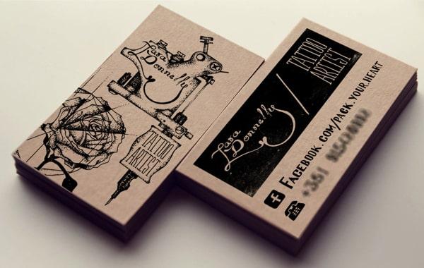 In card visit xăm mình bằng giấy kraft