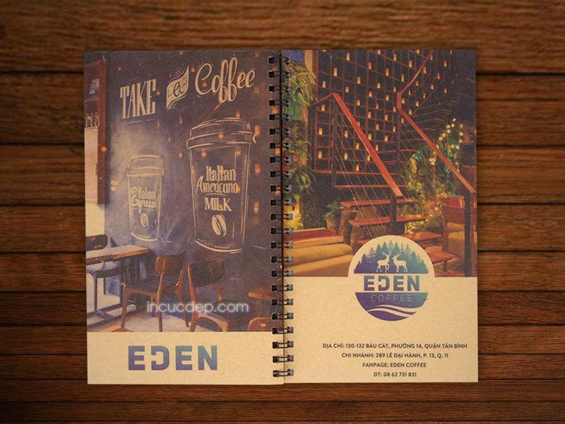 Eden coffee - Sản phẩm menu bằng giấy kraft tái chế