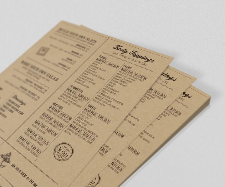 Mẫu in menu tờ rơi - in menu kraft