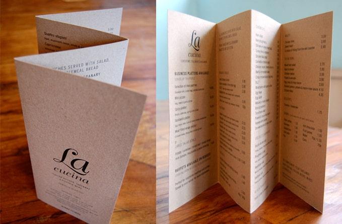 In menu nhà hàng - in menu kraft A3 gấp 3