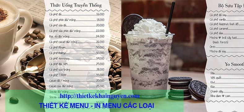 In menu khổ lớn - in menu coffee-trà sữa - in menu nhà hàng