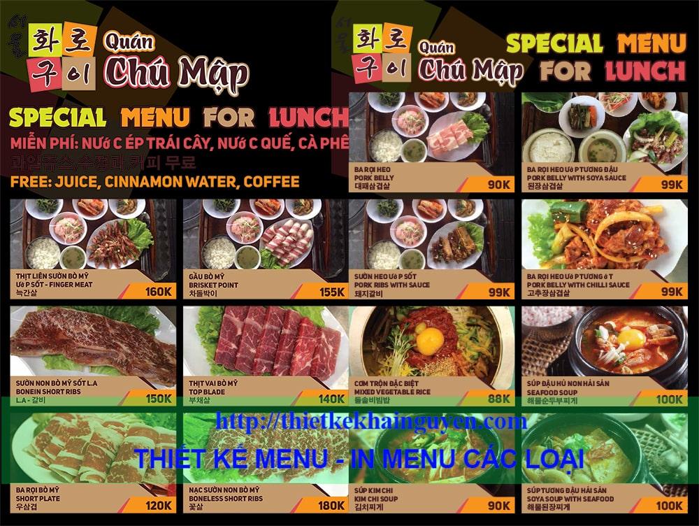 Mẫu in menu khổ lớn nhà hàng Chú Mập