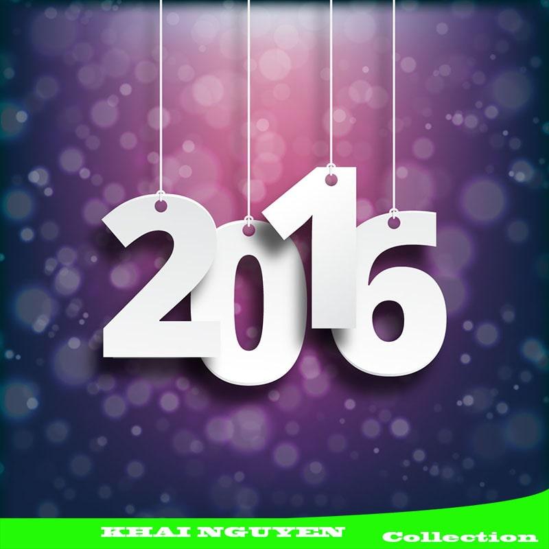 Template thiệp mời 2016 với tím mộng mơ