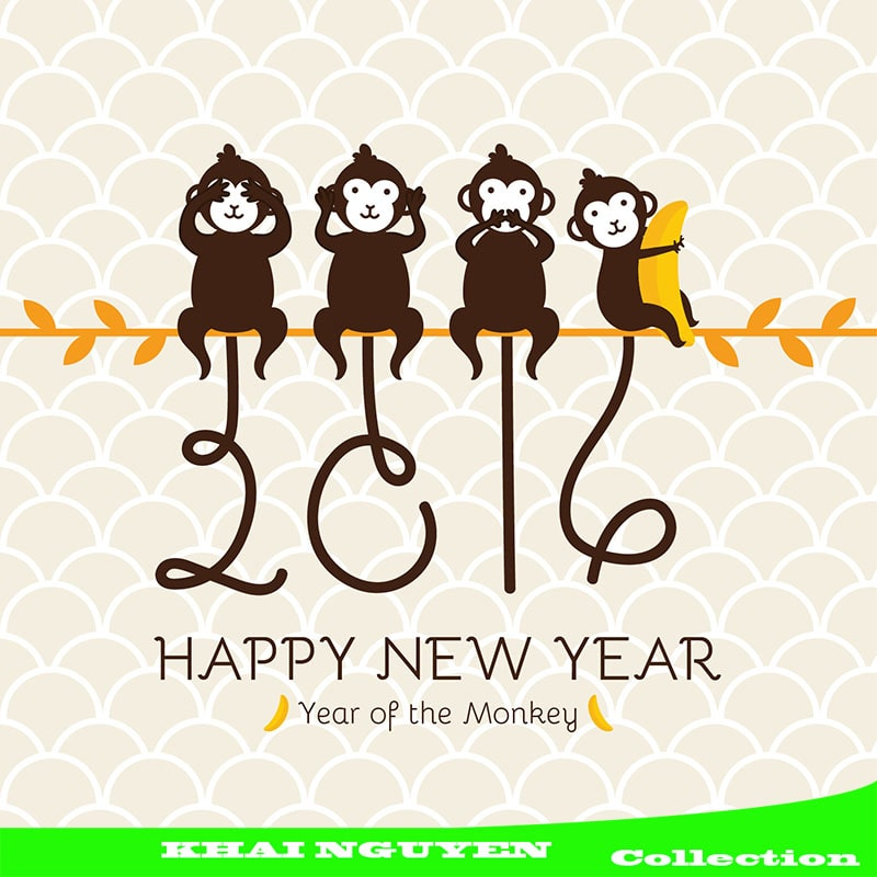 Thiết kế bao lì xì dễ thương cho năm 2016 - năm của những chú khỉ