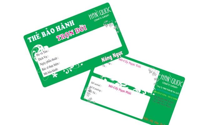 In thẻ bảo hành thấm mỹ viện - spa